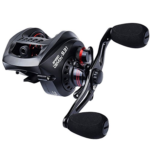 KastKing Speed Demon 9.3:1 Baitcasting Fishing Reel – World's Fastest Baitcaster – 12+1 Shielded Ball Bearings – Carbon Fiber Drag – Affordable - New for 2017! (Left Handed)