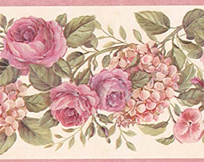 Blooming Purple Roses on Vine Floral Wallpaper Border Retro Design, Roll 15' x 6.75''