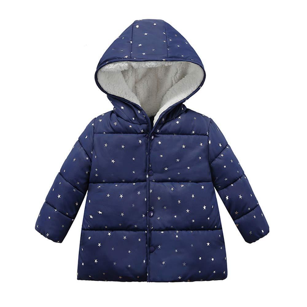 Londony ♪❤ Baby Unisex Hooded Winter Jacket Toddler Girls Boys Fleece Lined Dot Puffer Jacket Coat