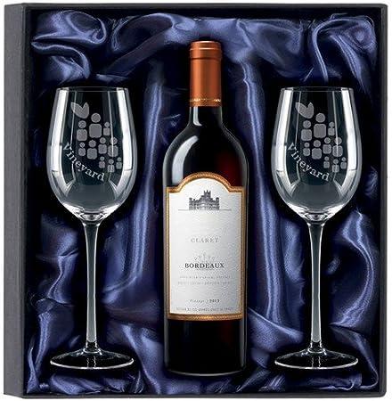 Dartington Crystal rojo vino personalizado Set de regalo | par: Amazon.es: Hogar