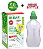 Xlear Natural Neti Pot Kit, Sinus Rinse Refill Packets with Rinse Bottle, Sinus Relief Saline Nasal Rinse with Xylitol (50 Packets + 1 Bottle)