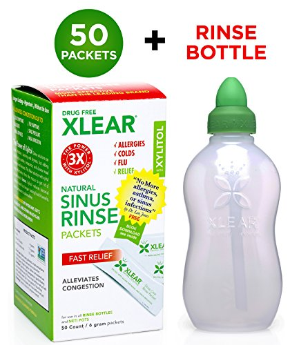 Xlear Sinus Rinse Kit (Bottle + 50 Packets): Nasal Rinse Irrigation Neti Bottle Set - Revolutionary Formula for Congestion Due to Allergies, Colds, Pet Dander, Hay Fever, Dust, Sinusitis, Flu