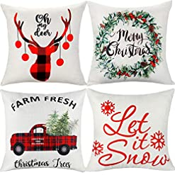 Christmas Farmhouse Home Decor ifremaix Christmas Decorative Pillow Cover Perfect Farmhouse Style (Beige 4-Piece) Made of Polyester Linen 18 x 18… farmhouse christmas pillow covers