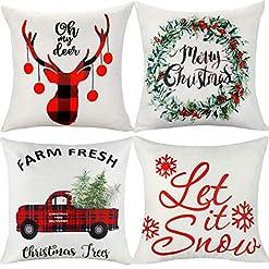 Christmas Farmhouse Home Decor ifremaix Beige Throw Pillow Covers 18 x18 inches,4 Pack Square Farmhouse Pillowcase, Linen Cushion Case for Sofa Bedroom… farmhouse christmas pillow covers