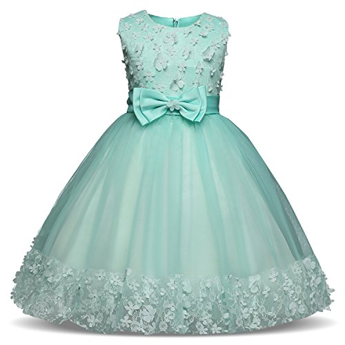 Girls Dress Pink Party Sleeveless Dresses Kids Clothes Birthday Wedding Dress Tutu Dresses for Girls Costume,Green,7 ()