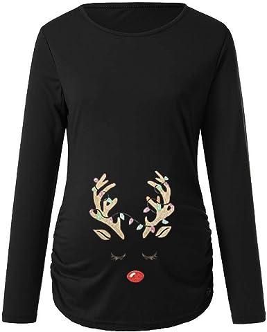 QinMM Premamá Camisa de Navidad de 3/4 Manga para Mujer Embarazada Christmas Camiseta Santa Tops: Amazon.es: Ropa y accesorios