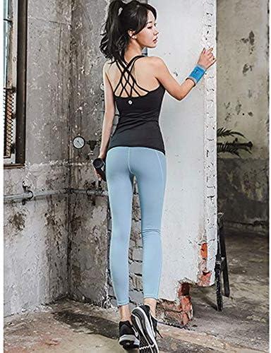 レディースジャージ上下セット 女性のスポーツジムヨガ着用フィットネススポーツウェア2ピースベストタイツセット (Color : Black, Size : XL)