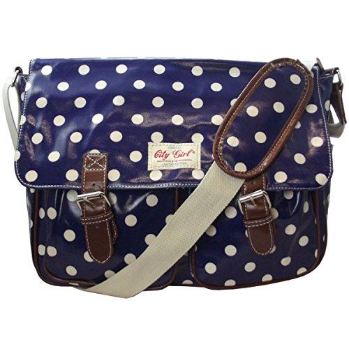 City Girl Ladies Girls Floral Flower Oilcloth Satchel/school Bag (polka Dot Deep Blue) 5356