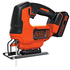 The BLACK+DECKER BDCJS20C 20V MAX Lithium Jigsaw provides cutting versatility and compact portability all in one. It offers a powerful motor delivering 2500 spm with the convenience of a cordless tool. This jigsaw features a tool free blade c...