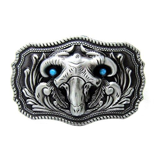 (Rodeo Silver Ram Skull Head Horn Sheep Belt Buckle Turquoise Goat Cowboy Girl)