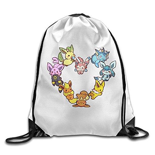 SAXON13 Unisex Playful Eevee Family Heart Drawstring Travel Bag ()