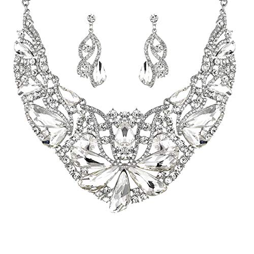 Women Bridal Austrian Crystal Necklace Teardrop Earrings Jewelry Set Gifts fit with Party Wedding Dress