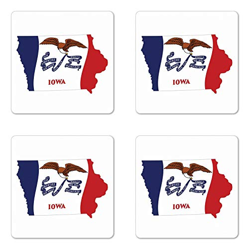 Lunarable Iowa Coaster Set of Four, The Hawkeye State Map and Flag Bald Eagle Carrying Streamer Beak, Square Hardboard Gloss Coasters for Drinks, Cobalt Blue Vermilion and White ()