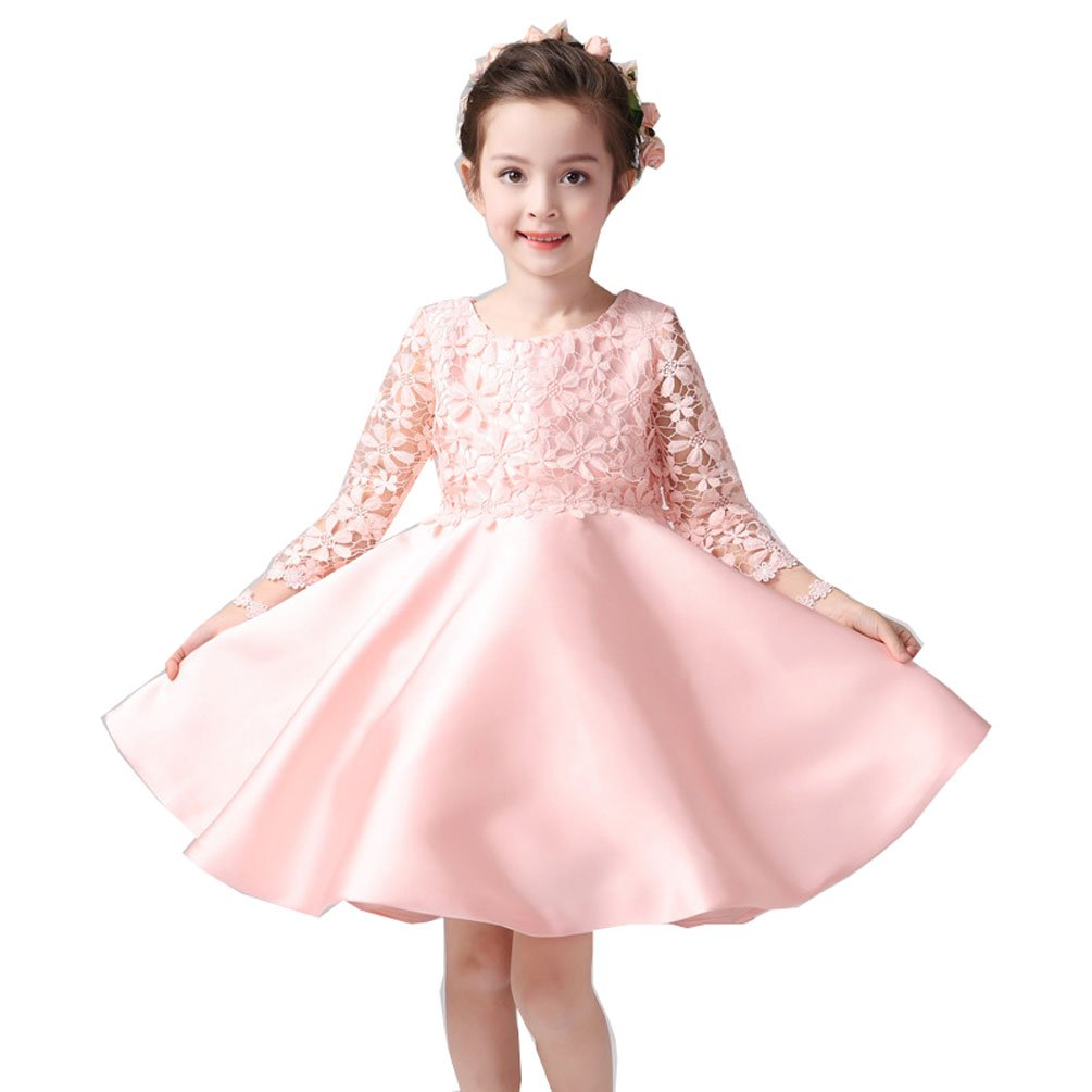 Kelaixiang Formal Short Lace Satin Ball Gown with Long Sleeves for Girls (11) by Kelaixiang