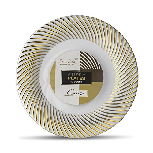 Laura Stein Designer Tableware Premium Heavyweight 9'' Inch White And Gold Rim Plastic Party & Wedding Plates Curve Series Disposable Dishes Pack of 40 Party Plates