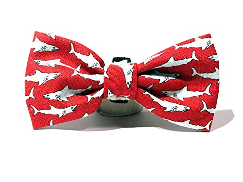 Very Vintage Design Dog Cat Collar Bow Tie Shark Attack Red Gray Sharks Ocean Beach Mar Hand Crafted Collection Organic Cotton Personalized Adjustable Pet Floral Bowtie by Very Vintage