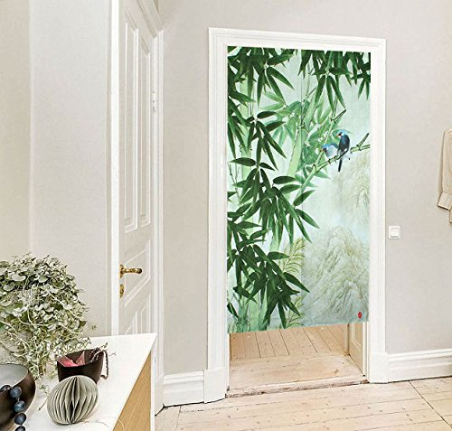 Vivid Animal Pattern Japanese Noren Doorway Curtain (Bird Green) by LifEast