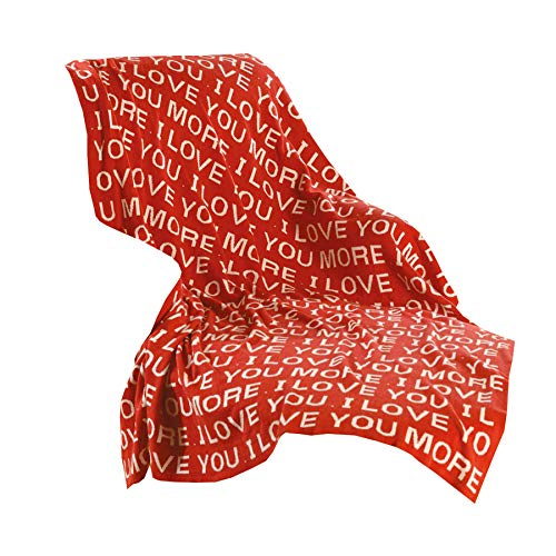 SIGNALS Love You More Throw Blanket - Red Cotton 50