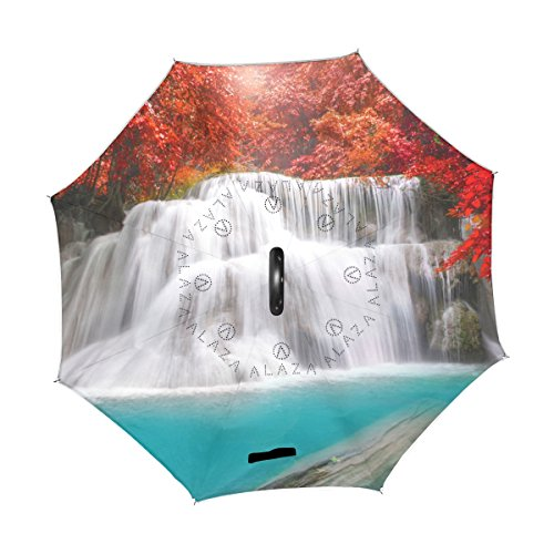 U LIFE Nature Waterfall Lake Forest Autumn Scenery Reverse Inverted Umbrellas Reversible Sun Rain Umbrella for Car Outdoor Use With C-shaped Handle by ALAZA