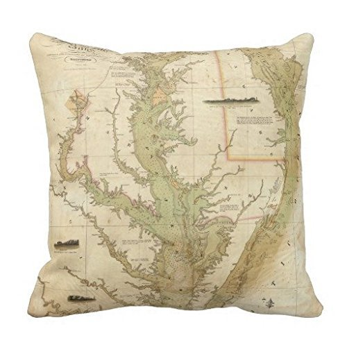 Price comparison product image A Chart Of The Chesapeake And Delaware Bays Pillow Case Cushion Cover