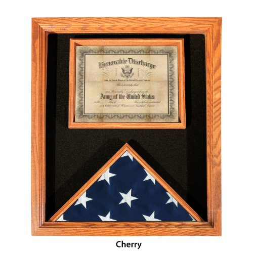 Premium USA-Made Solid Oak Flag And Document Case - Cherry Finish - For 3ft x 5ft Flags