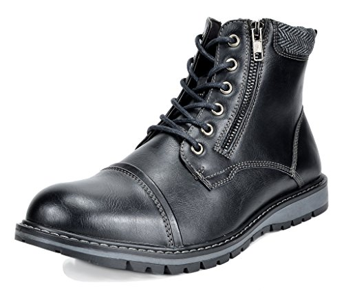 Bruno Marc Men's Apache-03 Black Faux Fur Lined Motocycle Combat Oxford Ankle Boots Size 10.5 M US