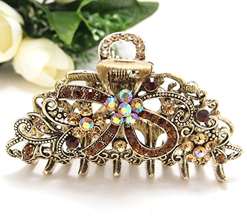 New Metal bow flowers Crystal Rhinestone hair Jaw Claw Hair Clip by beautyxyz (New Hair Jaw Clip)