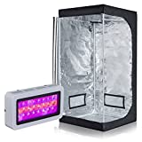 PrimeGarden Full Spectrum LED 300W Grow Light + 32''x32''x63'' 600D High Reflective Mylar Grow Tent Dark Room for Plant Growing Hydroponic Grow Tent Complete Kit Hydroponic Growing System (LED300W+32''x32''x63'' Tent)