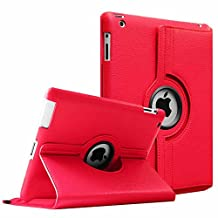 Fintie Apple iPad 2/3/4 Case - 360 Degree Rotating Stand Smart Case Cover for iPad with Retina Display (iPad 4th Generation), the new iPad 3 & iPad 2 (Automatic Wake/Sleep Feature) - Red