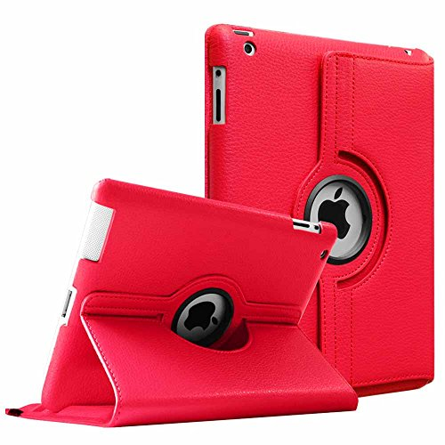 Fintie iPad 2/3/4 Case - 360 Degree Rotating Stand Smart Case Cover for Apple iPad with Retina Display (iPad 4th Generation), the iPad 3 & iPad 2 (Automatic Wake/Sleep Feature) - Red