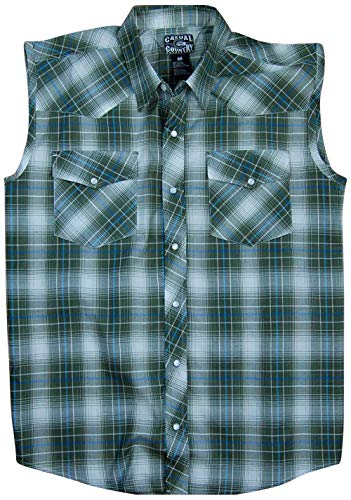Men's Classic Plaid Sleeveless Western Shirt | Snap-Front (5X-Large, Olive (31))