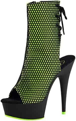 e7f8bb6e9 Summitfashions Womens Lime Green Heels Blacklight Fishnet Ankle Boots Black  Booties 6 in Heels