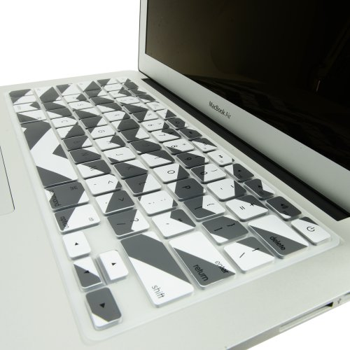 """TOP CASE - Chevron Zig-Zag Silicone Keyboard Cover Skin for Macbook Air 13"""" Model: A1466 - White & Gray"""