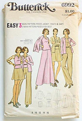 (Vintage Uncut Butterick sz 12 jacket, pants, skirt and vest pattern 6992)
