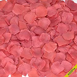 Rose Petals, Cozyswan 4000pcs Silk Artificial Fabric Flower for Valentine Ceremony Wedding or Home Hotel Garden Bouquet Party Decorations(Red Wine)