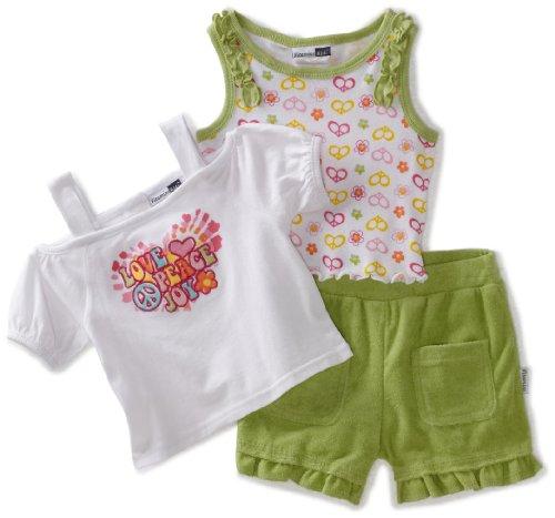 Vitamins Baby Baby Girls' Love Peace Joy 3 Piece Short Set