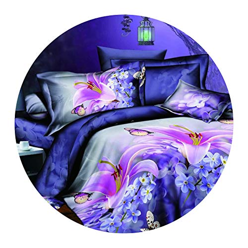 Formerly Slow-bedandbath Bedroom Bedding Duvet case Bed Linen Bedclothes Double Flower, King Size 4pcs,Flat Bed Sheet (Full Face White Inkjet)