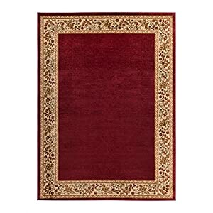 Single Piece Burgundy Area Rug, 5u00273 X 7u00273 Rug, Rectangle Runner Shape,  Border Pattern, Classic, Contemporary, Formal, Patterned, Traditional  Style, ...