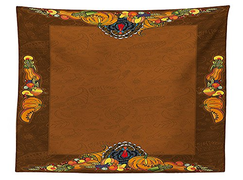 vipsung Thanksgiving Decorations Tablecloth Basket Harvest Pumpkin Turkey Apple Pie Fruit and Vegetables Desert Dinner Pattern Rectangular Table Cover for Dining Room Kitchen Brown