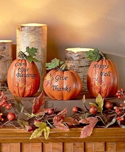 set of 3 inspirational Pumpkins Table Top Home Accent Decor Haunted House Prop Autumn Fall Harvest Thanksgiving Country (Grapevine Three Light)