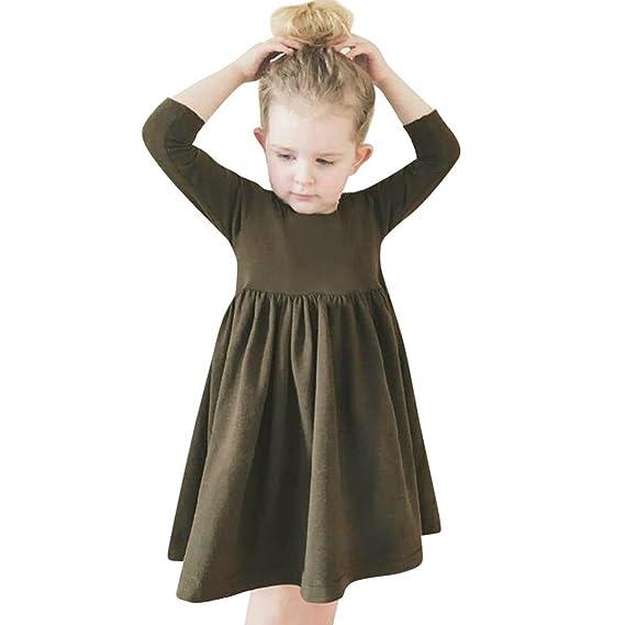 1470946042b2 Longra Baby Kleider Kinder Kleider Mädchen Solid Baumwolle Kleid Prinzessin Kleid  Langarm Kleid Langarm T-