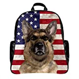 Personalized Funny Backpack Print German Shepherd Dog USA Flag , PU Leather