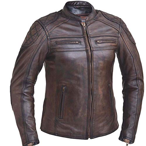 Womens Motorcycle Retro Brown Scoter Riding Reflective Vented Leather Jacket Premium Cow leather (L)