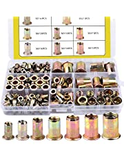 170pcs Mixed Zinc Plated Carbon Steel Rivet Nut Threaded Insert Nutsert M3 4 5 6 8 10 12 Packaged by Plastic Case BO002