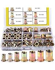 BONROB 170pcs Mixed Zinc Plated Carbon Steel Rivet Nut Threaded Insert Nutsert M3 4 5 6 8 10 12 Packaged by Plastic Case BO002