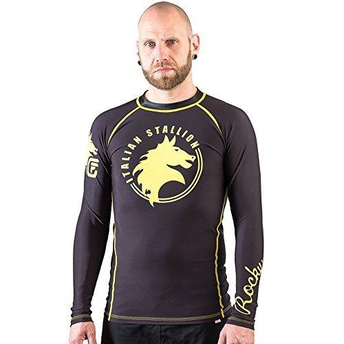 Balboa Fight Gear - Fusion Fight Gear Rocky Italian Stallion BJJ Rash Guard Compression Shirt- Black (XL)