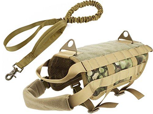 Myheartgoon Tactical Dog Vest Training Molle Harness (Jungle Python pattern, L)