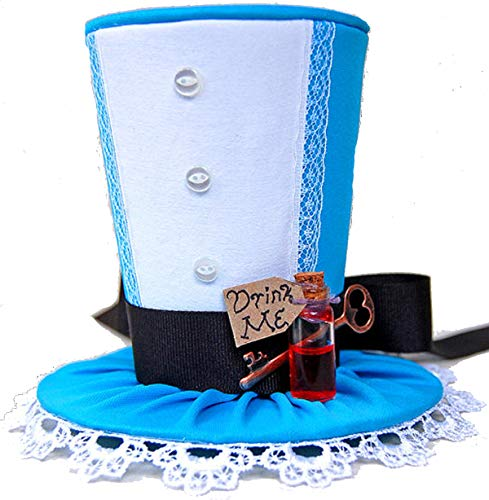 Hand-Made Alice in Wonderland Bottle Mini Top Hat a one-Size-fits-All Elastic Headband Worn Behind The Head ()