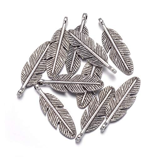 Kissitty 60Pcs Antique Silver Detailed Carved Feather Charms 30x9mm Tibetan Metal Pendants Lead Free & Cadmium Free for DIY Jewelry Craft Making from Kissitty