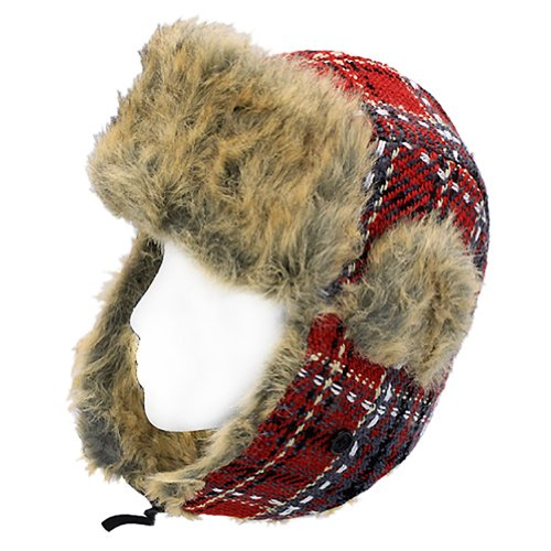 Plaid Design Faux Fur Trooper Aviator Trapper Cold Weather Winter Ski Cap Hat Red